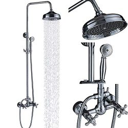 Senlesen Chrome Wall Mounted Bathroom 8″ Rainfall Shower Faucet Set Dual Cross Handles wit ...