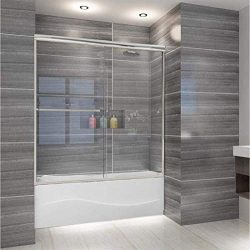 ELEGANT 58.5-60″ W x 57 3/8″ H Bypass Sliding Tub Glass Shower Door, 1/4″ Clea ...