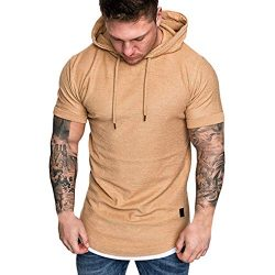 SSYUNO Men Hipster Hip Hop Elong Longline Crewneck T-Shirt Muscle Cotton Casual Tops Slim Fit Bl ...