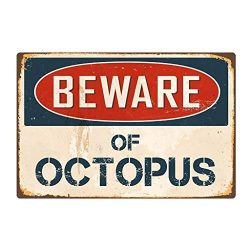 CCFAMILY Beware of Octopus Metal Sign Flag Plaque Bar Club Cafe Garage Wall Decor Art