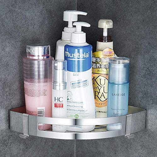 Gricol Bathroom Chrome Shower Shelf Wall Shower Caddy Corner Stainless Steel Self Adhesive No Da ...