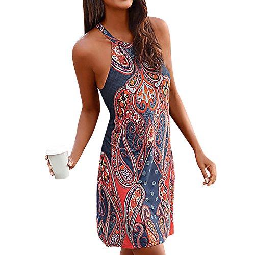 Womens Summer Casual Sleeveless Retro Print Halter Beach Short Dress Mini Dresses (Navy -18, XL)