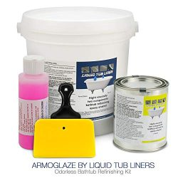 ArmoGlaze Odorless Bathtub Refinishing Kit, Made in USA, Pour-On Application, Mirror Gloss Finis ...