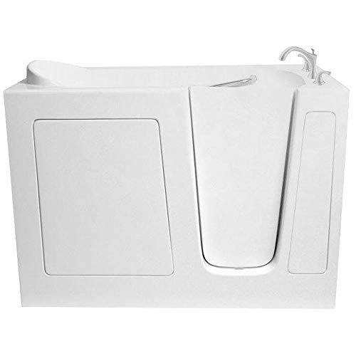 ARIEL Walk-in Bathtub in White with Right Side Drain and Whirlpool and Air Jet Combination 48 ...