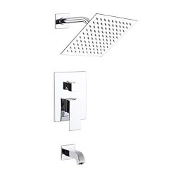 POP Shower Faucet Set with Tub Spout Chrome Bathroom Luxury Rain Mixer Shower System Wall Mounte ...