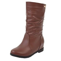 Women's Hidden Low Wedge Boots Wide Width Mid Calf Booties Fashion Outdoor Waterproof Chel ...