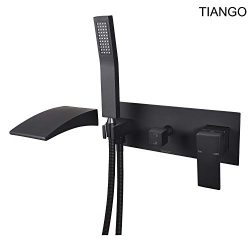 TINAGO Wall Mount Bathtub Faucet Set with Tub Waterfall Spout Filler and Handheld Shower Head (M ...