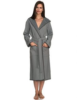 TowelSelections Women's Robe, Cotton Lined Hooded Terry Bathrobe X-Small/Small Monument