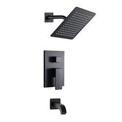 POP Black Shower Faucet Set with Tub Spout Bathroom Luxury Rain Mixer Shower System Wall Mounted ...