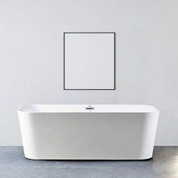 """FerdY 67"""" Acrylic Freestanding bathtub, White Modern Stand Alone bathtub Soaking Bathtub,  ..."""