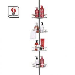 SeiriOne Bathroom Shelf, Tension Shower Pole Corner Caddy, Rustproof 304 Stainless Steel, 4 Tier ...