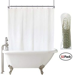 Extra Wide Shower Curtain Set 180×70 inch All wrap Around White Shower Curtain Panel peva f ...