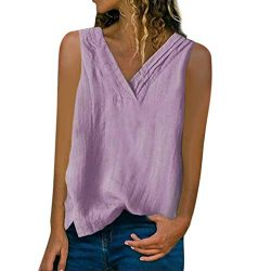 Women's Solid Sleeveless Button Pocket Linen Blouse Vest Shirt Tank Tops Purple