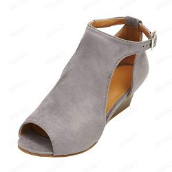 SSYUNO Wedges Shoes for Women Sandals Espadrille Sexy Ankle Strap Peep Toe Summer Ankle Boots Co ...