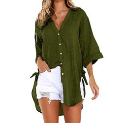 Loose Button Long Sleeve Shirt Dress Cotton Linen Blouse Casual Solid Top Green