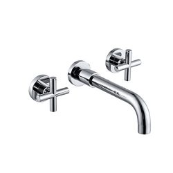 Sumerain Wall Mount Bathroom Faucet,Cross 2-Handle in Modern Chrome Finish,Rough-in Valve Included