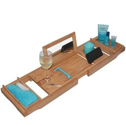– THIS ONE HAS A MIRROR – Our Luxury Bamboo Bathtub Tray / Bathtub Caddy with MIRROR ...