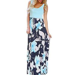 CmmYYrei Women Summer Maxi Dress Boho Sleeveless Floral Print Splice Tank Plain Long Dress Beach ...