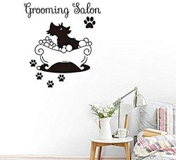 FSDS Wall Vinyl Decal Dog in Bathtub Quote Stickers Grooming Salon Sticker Art Decal Pet Shop Re ...
