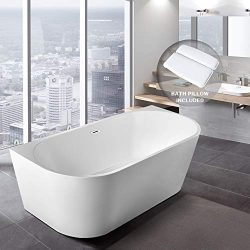 BATH MASTER Freestanding Bathtub Acrylic Contemporary Bathroom Soaking Tub with Chrome Overflow  ...