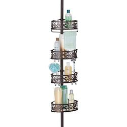 mDesign Bathroom Shower Storage Constant Tension Corner Pole Caddy – Adjustable Height, 4  ...