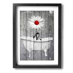 Okoart Art-Logo 12″x16″ Rustic White Daisy Flower Bubble Red Gray Farmhouse Bathtub  ...