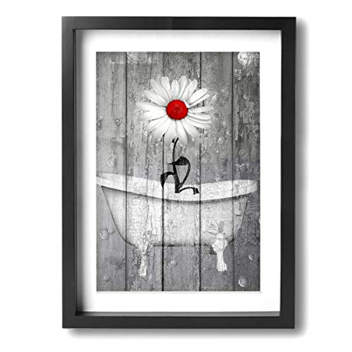 Okoart Art-Logo 12″x16″ Rustic White Daisy Flower Bubble Red Gray Farmhouse Bathtub  ...