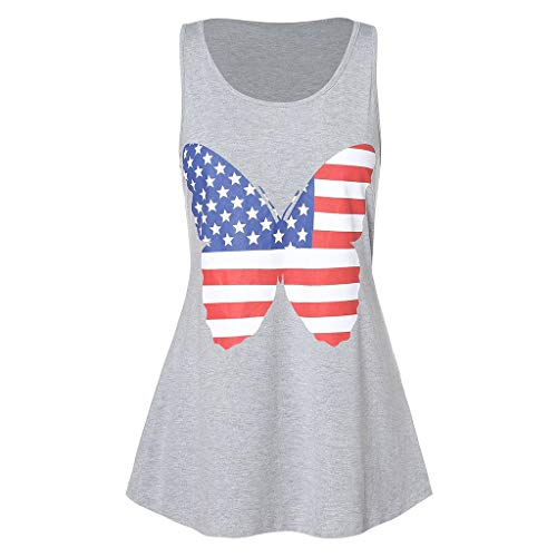 Bravetoshop American Butterfly Flag Tank T Shirts Patriotic Short Sleeve USA Tunic Summer Blouse ...