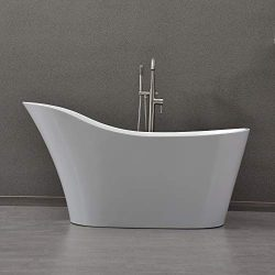 WOODBRIDGE 59″ Freestanding Bathtub with Chrome Overflow and Drain B-0029