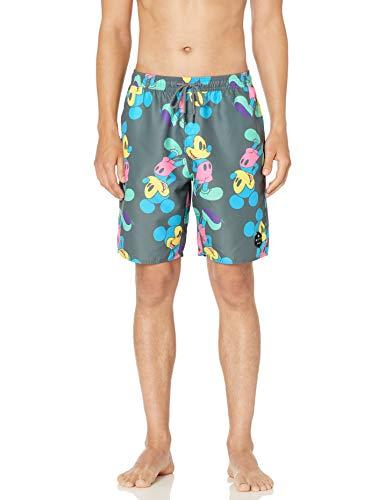 Disney Neff Men's Mickey Mouse Hot Tub Swim Surf Shorts, Charcoal, Medium