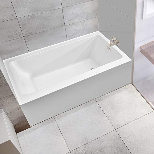 WOODBRIDGE 60-Inch Alcove Drop-in Tub with Apron Acrylic Bathtub Hand Overflow, Drain Hole on Ri ...
