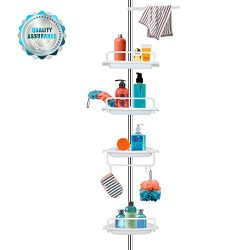 Vailge Adjustable Constant Tension Corner Shower Caddy,Rustproof Stainless Steel Shower Caddy Po ...