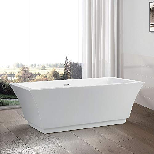 Vanity Art 59 inch Freestanding Acrylic Bathtub | Modern Stand Alone Soaking Tub with Chrome Fin ...