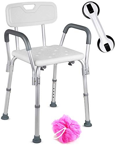 Dr. Maya Adjustable Shower Chair with Back and Arms – Free Suction Assist Grab Bar – ...