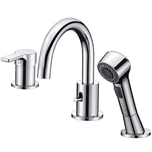 Bathroom Faucet 3 Hole Chrome Crea Widespread Bathtub Vanity Lavatory Faucet with Pull Out Showe ...