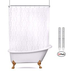 White Floral Damask All Around Shower Curtain Set 180 x 70 Inches Extra Wide Clawfoot Tub Heavy  ...