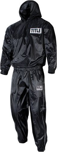 Title Pro Hooded Sauna Suit, Black, Large