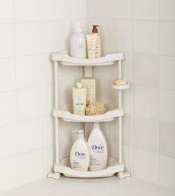 Tenby Living Corner Shower Caddy – 3 Shelf Shower Organizer Caddie with Movab.