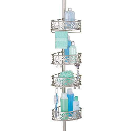 mDesign Bathroom Shower Storage Constant Tension Corner Pole Caddy – Adjustable Height  ...