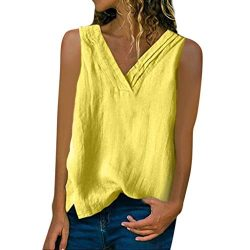 Women's Solid Sleeveless Button Pocket Linen Blouse Vest Shirt Tank Tops Yellow