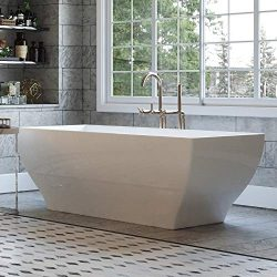 Luxury 63 Inch Modern Freestanding Tub with Rectangular Hourglass Design and Integrated White Dr ...
