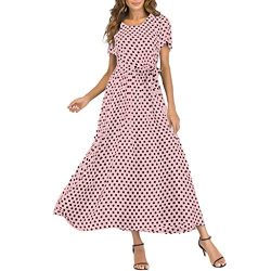 Mikilon Women Casual Boho Summer Maxi Dresses Polka Dot Short Sleeve Swing Dress with Belt Pink