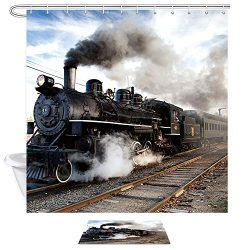 NYMB Steam Engine Bath Curtain, Train on Railroad Track Doormat, 69X70in Watercolor Polyester Fa ...