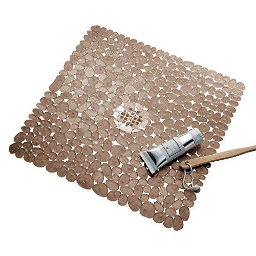 InterDesign Pebblz  Plastic Suction Non-Slip Bath Mat for Shower, Bathtub, Stall, 22″ x 22 ...