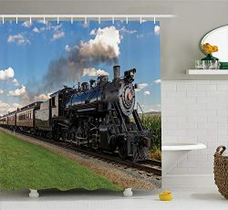 Ambesonne Steam Engine Shower Curtain, Vintage Locomotive in Countryside Scenery Green Grass Puf ...