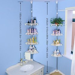 BAOYOUNI Bathroom Shower Storage Corner Caddy Tension Pole, 4-Tier Bathtub Caddies Shelf Rod Org ...