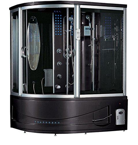 2019 Siena Computerized Steam Shower Sauna with Jetted jacuzzi Whirlpool Massage Bathtub Spa (Black)
