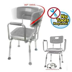 MOBB Premium Bathroom Swivel Shower Chair Bath Bench with Back, 360 Degree Swivel Seat with Lock ...