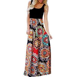 CmmYYrei Women Summer Long Dress Sleeveless Floral Print Loose Plain Maxi Dress Splice Contrast  ...