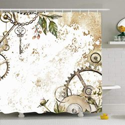 Ahawoso Shower Curtain 72×72 Inches Gold Watercolor Steam Punk Clockwork Leaves Glod Scrape ...